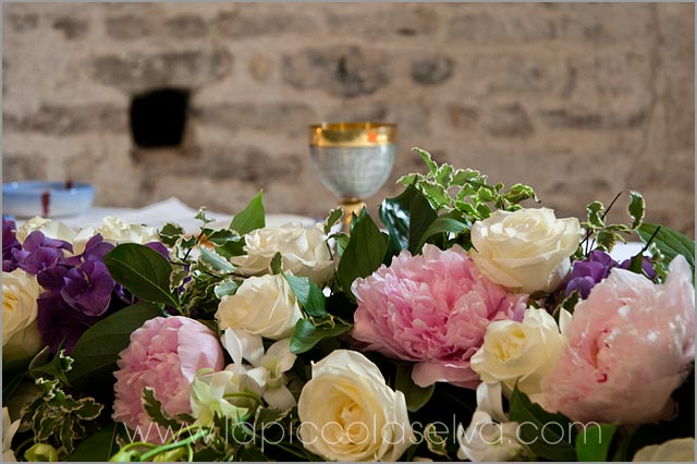 church floral arrangements with peonies