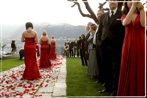 rose-petals-wedding. Red were centerpieces for the reception to Hotel San