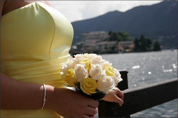 Theme color Nathalie and Tim chose was lime yellow wonderfully worn by