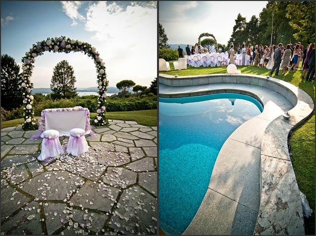 Lake varese wedding planner for Garden pool wedding