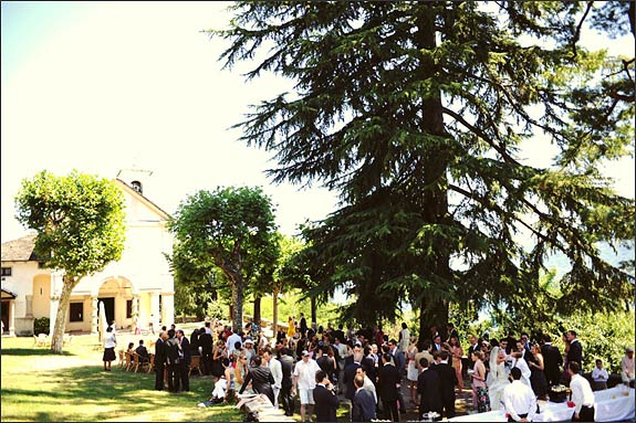 Wedding aperitif outside the Sacro Monte Church Ghiffa