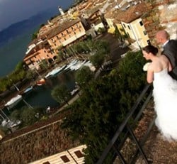 Wedding on Lake Garda under a blue sky after the storm