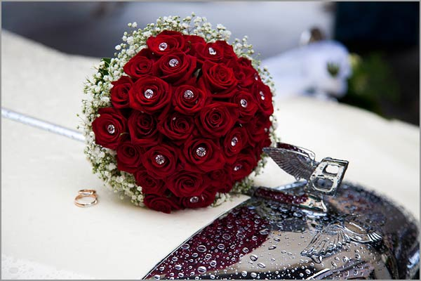 Red Pion Roses Bridal Bouquet