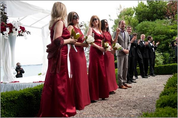 bridesmaids-venetian-red-dresses