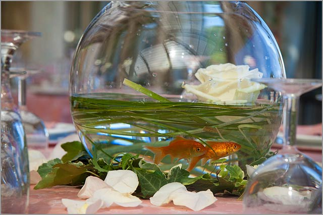 A special centerpiece with red fishes and flowers
