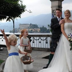 Blue and White themed wedding on Lake Orta