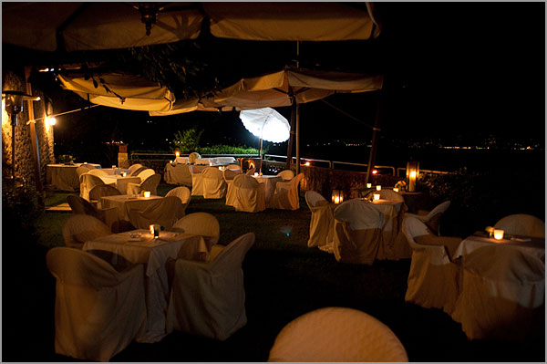 dinner restaurant with terrace on Lake Maggiore lakeshore