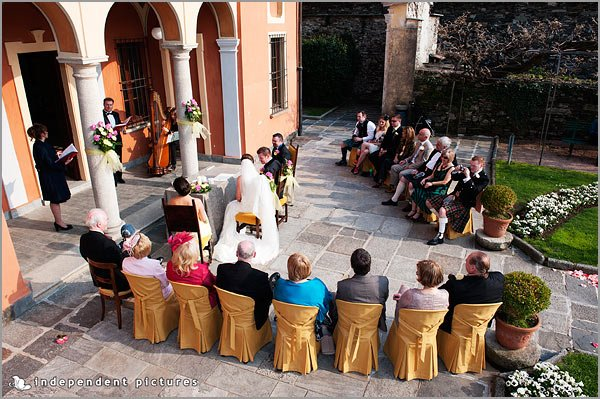 italian celebrants blessing to Villa Bossi lake Orta