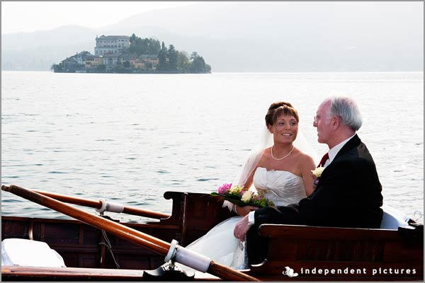 arrival of the bride by boat on Lake Orta Italy
