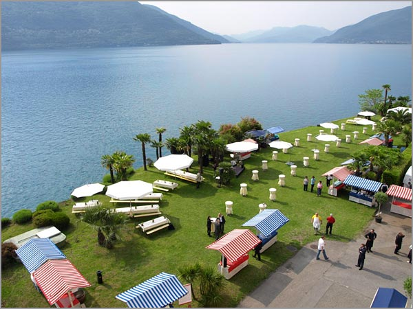outdoor wedding reception in Brissago Ticino