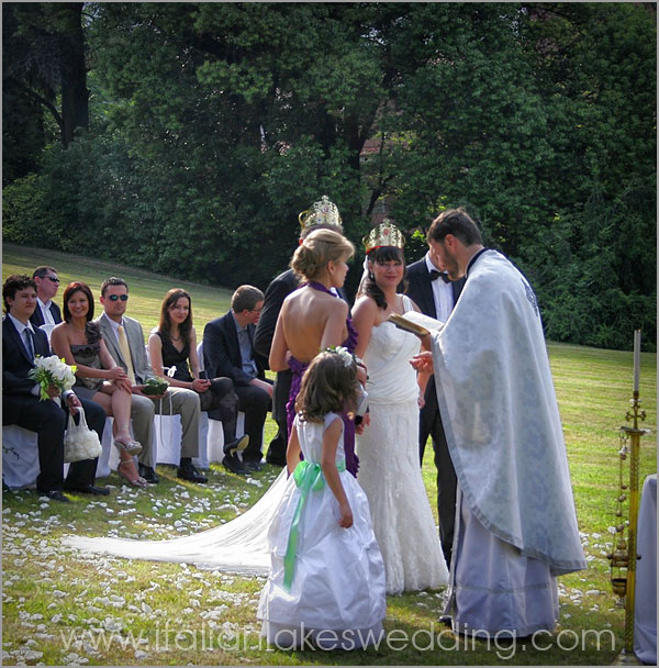 orthodox outdoor wedding in Stresa lake Maggiore