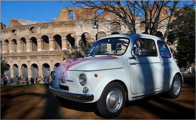 fiat 500 vintage car rentals for wedding in rome. Black Bedroom Furniture Sets. Home Design Ideas