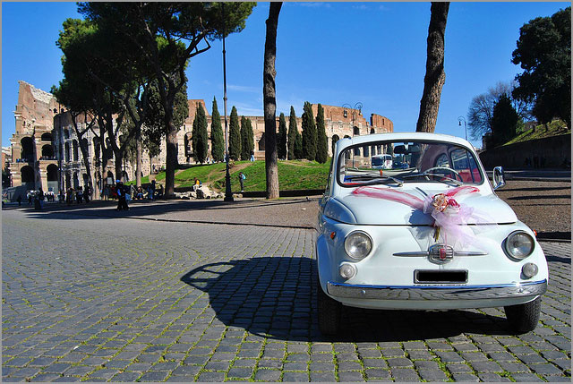 FIAT 500 classic car rental for wedding in Rome