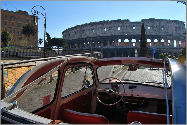 rent a Fiat 500 Cabrio for your wedding in Rome