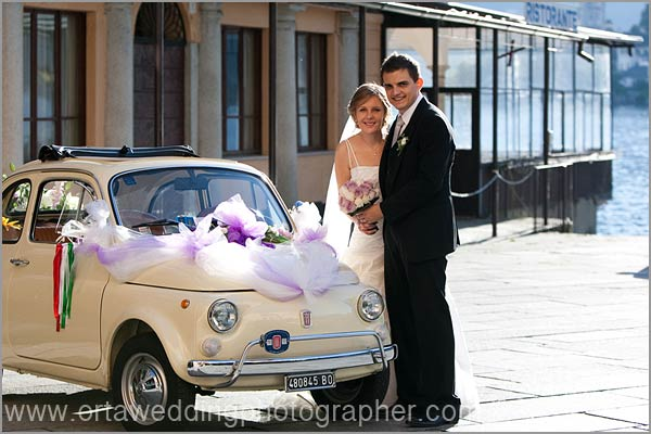 Fiat 500 wedding car hire Lake Orta Italy
