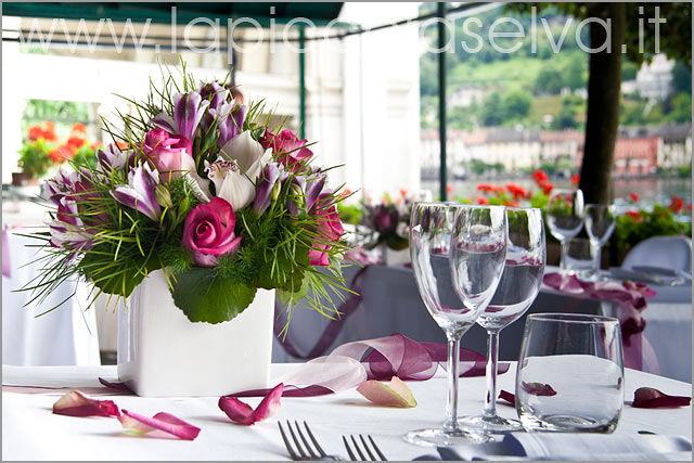 centerpieces for wedding reception at Restaurant St. Julius Island