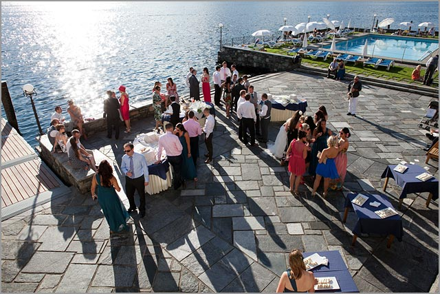 wedding reception on lake shores to San Rocco lake Orta