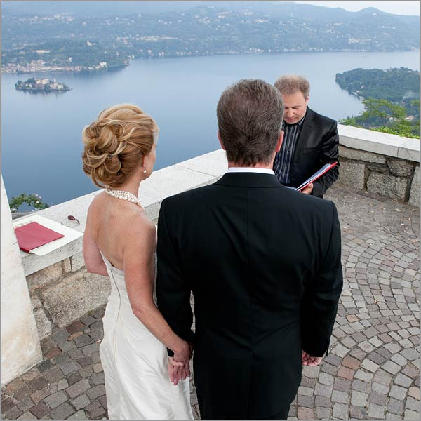 outdoor blessing ceremony overlooking Lake Orta Italy