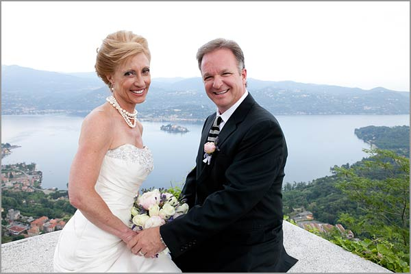 outside wedding ceremony overlooking lake Orta Italy