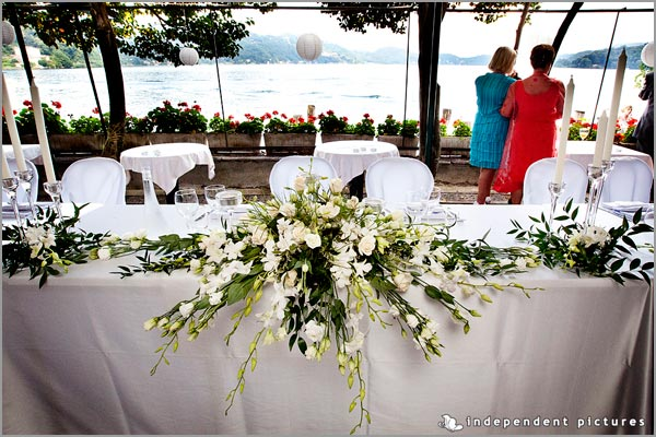 wedding centerpieces restaurant San Giulio lake Orta
