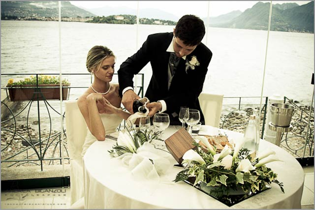 wedding to Belvedere restaurant on Pescatori island