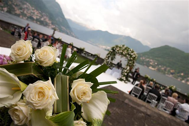 arch of flowers Lake Como wedding