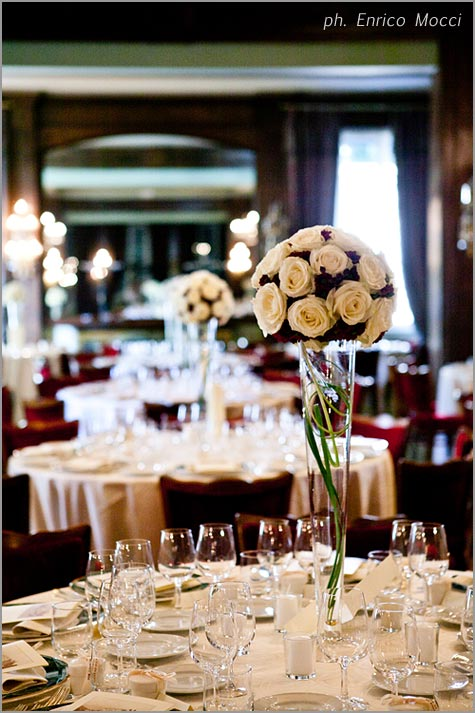 floral centerpieces for wedding reception in Hotel Majestic Pallanza