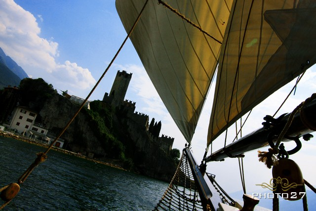 wedding on a historical sailing ship in Malcesine Lake Garda