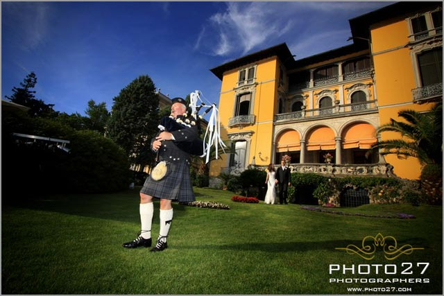 scottish bagpiper for lake Maggiore wedding