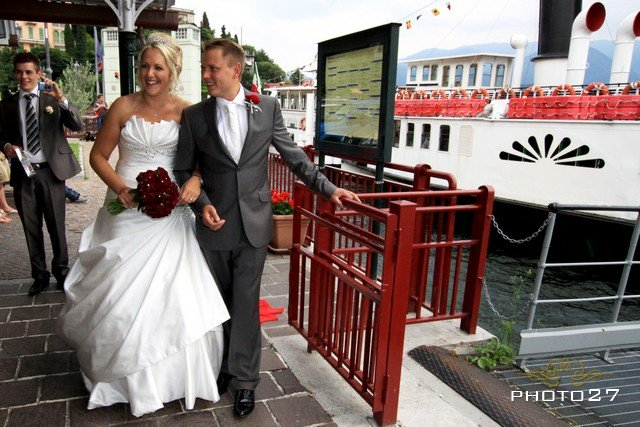 Wedding party on a Lake Como Steamboat