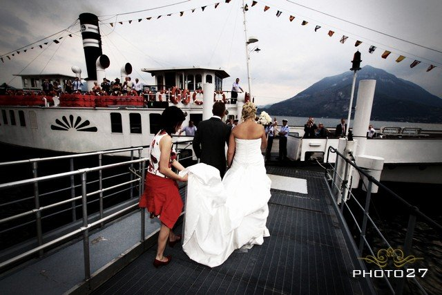 Wedding party on a Lake Como vintage Steamboat