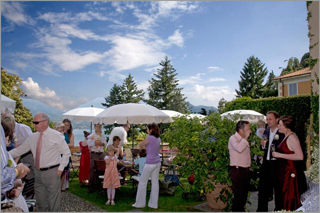 outdoor reception in Villa Margherita lake Maggiore