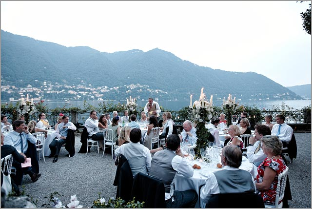 outdoor wedding reception in Cernobbio