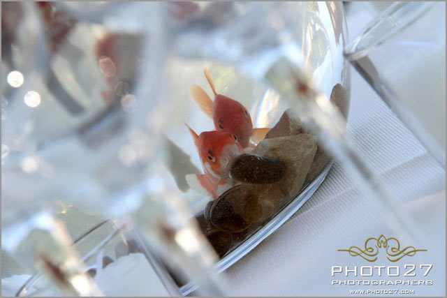 wedding centerpiece with goldfishes