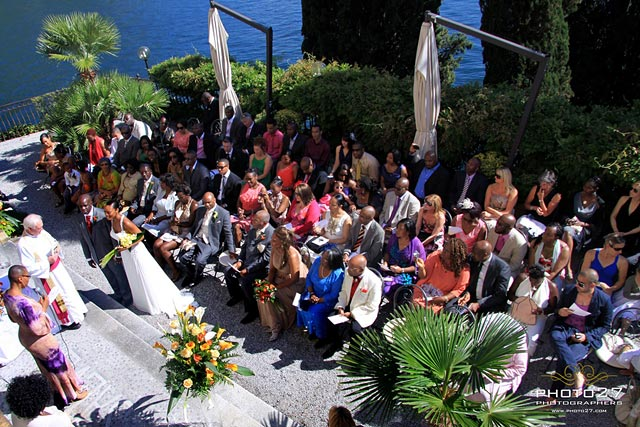 outdoor wedding ceremony in Varenna Lake Como