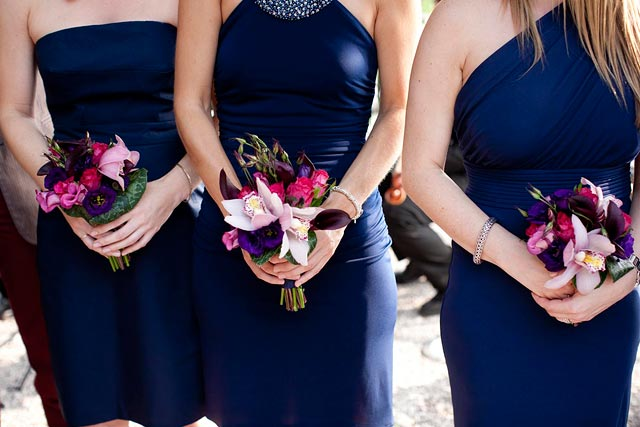 bridesmaids bouquet with orchids on lake Como