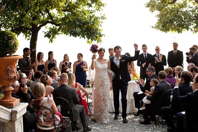 outdoor wedding ceremony on Lake Como