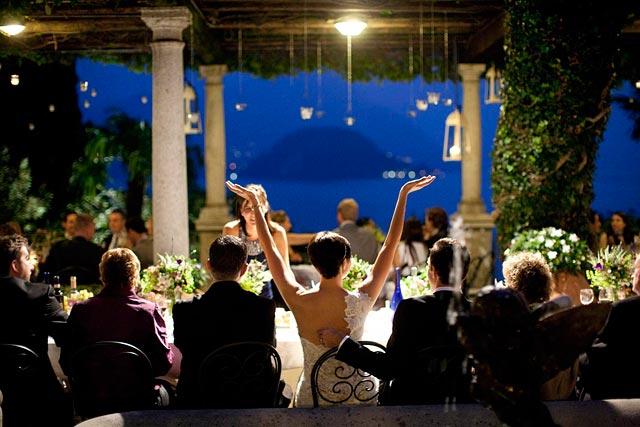 outdoor reception wedding venue on lake Como