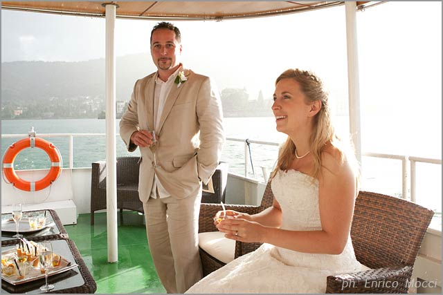 wedding aperitif on lake Maggiore boat