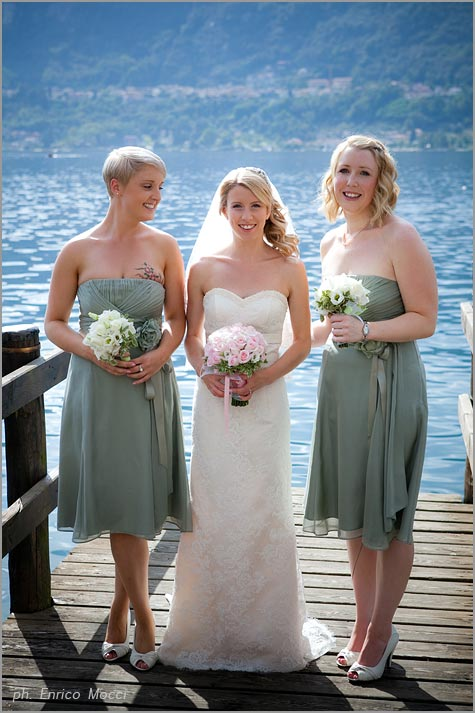 bridesmaids on lake Orta