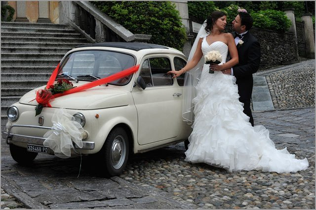 fiat 500 wedding car hire at Lake Garda