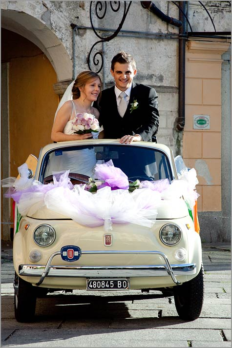 fiat 500 wedding car rental at Lake Garda
