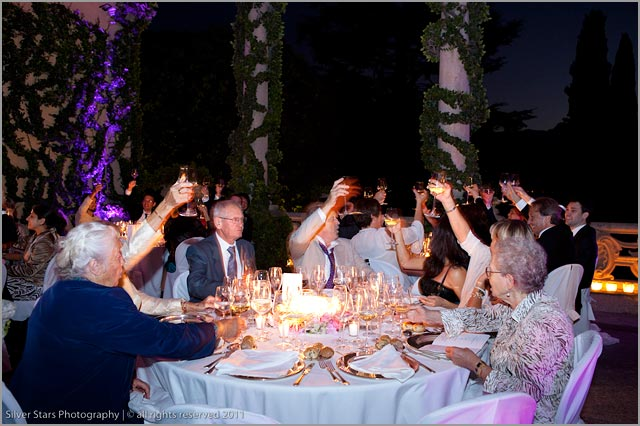 wedding dinner at Villa Balbianello