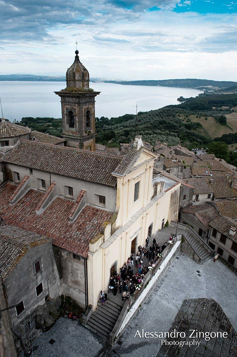wedding at church of St. Stefano Lake Bracciano