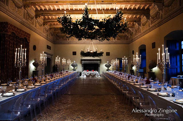 wedding reception dinner at Odescalchi Castle