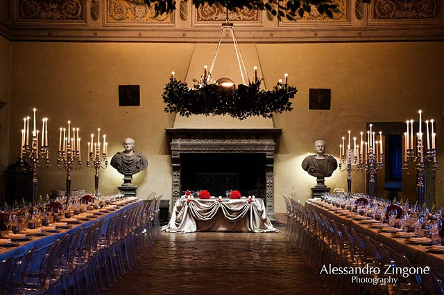 wedding reception dinner at Odescalchi Castle in Bracciano