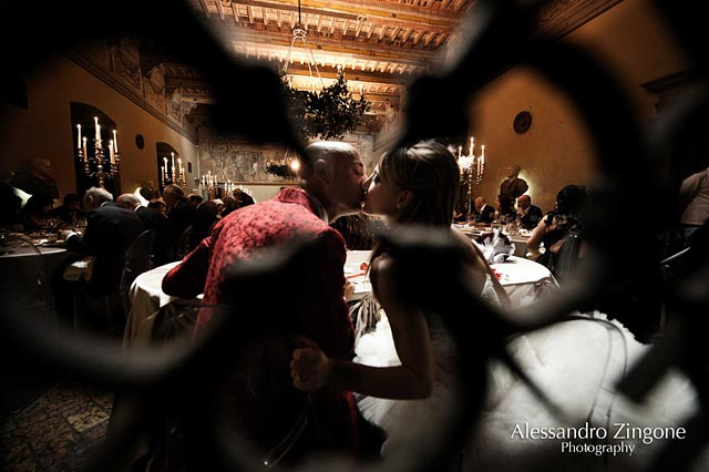wedding reception dinner at Odescalchi Castle in Bracciano Rome