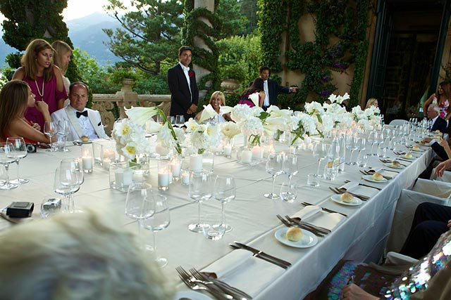 wedding dinner under the Loggia of Villa del Balbianello