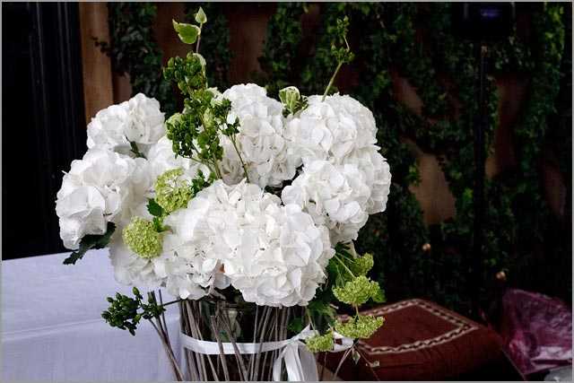 white hydrangea, wedding ceremony flowers at Villa Balbianello