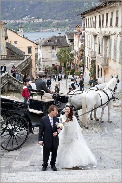 wedding carriage services on lake Orta Italy